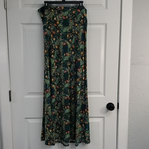 Lularoe Maxi Skirt Greens with coral flowers